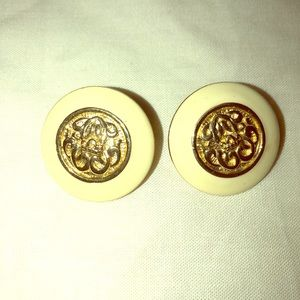 Vintage pair pierced earrings off white enamel gol